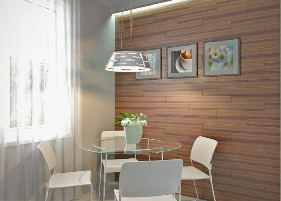 Дизайн-проект кухни с ламинатом на стене