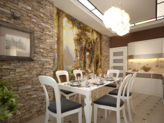 Тренд сезона - отделка камнем одной из стен кухни