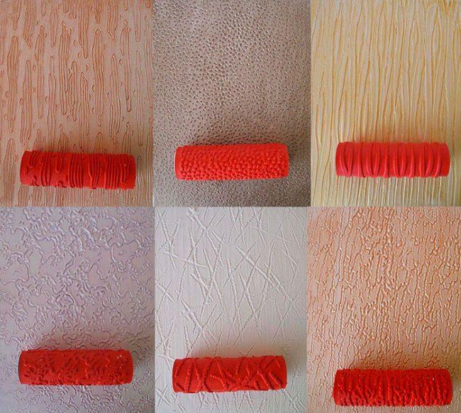 Узор на штукатурку можно нанести с помощью специальных валиков или подручных материалов