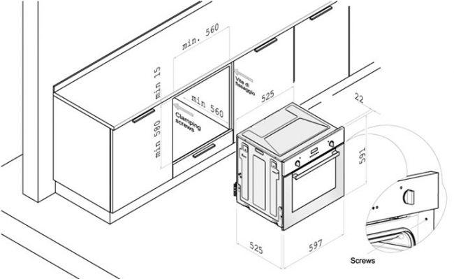 Установка газового духового шкафа