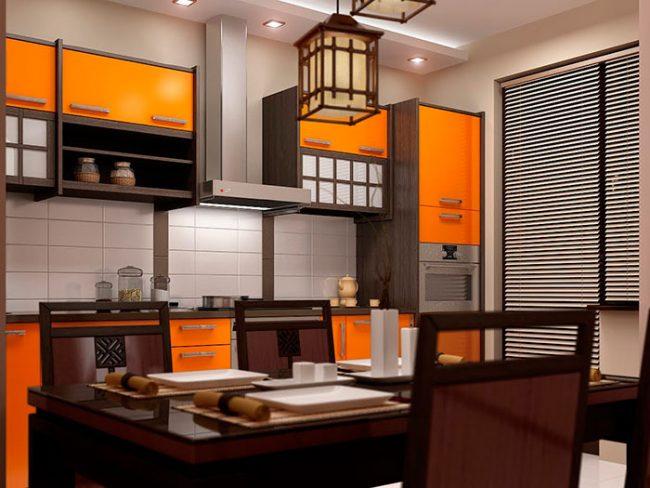 В оформлении кухонь в китайском стиле преимущественно используются натуральные материалы