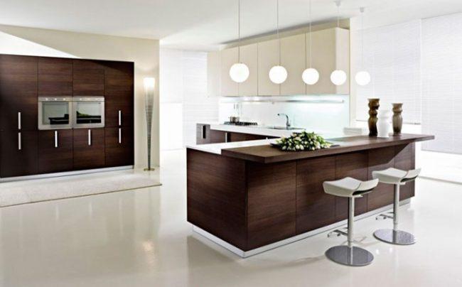 Бытовая техника на кухне в стиле минимализм обычно прячется за фасадами
