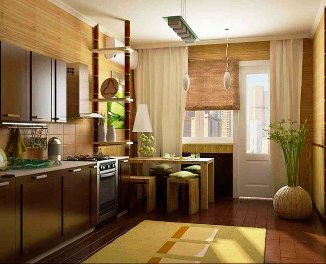 Оформить кухню в японском стиле можно при помощи тематических аксессуаров и предметов интерьера