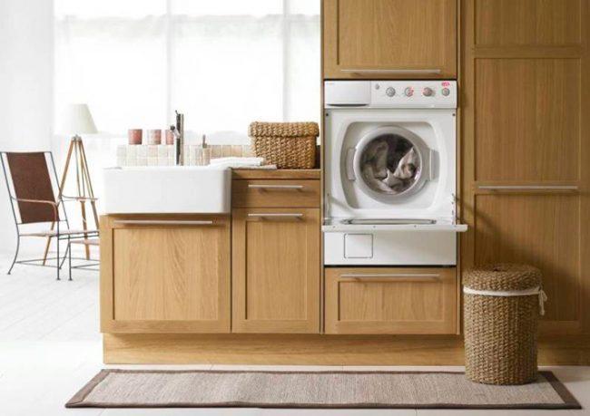 Стиральная машина на кухне сэкономит пространство в ванной комнате