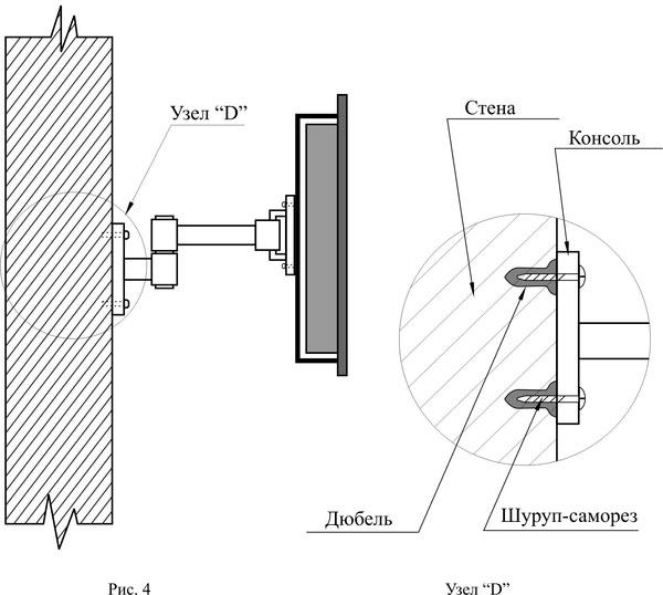 Схема крепления телевизора