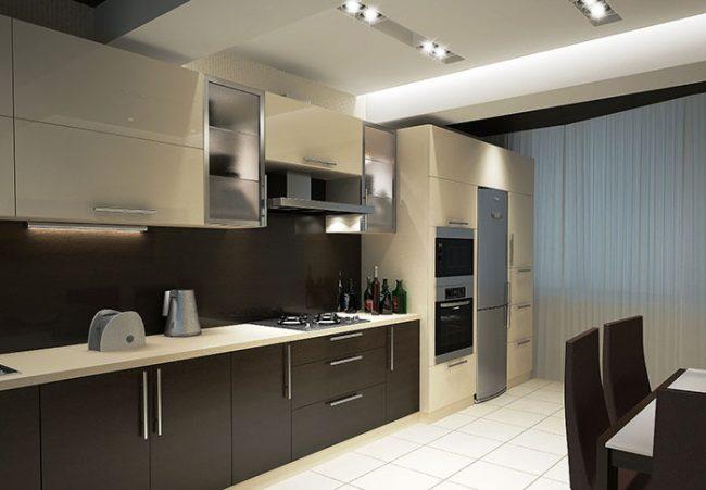 На кухне в стиле хай-тек используется минимальное количеств текстиля