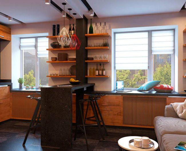Барная стройка может служить как рабочим пространством, так и просто декоративным элементом