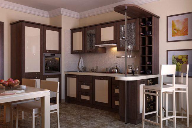Маленькая барная стойка может быть частью кухонного гарнитура