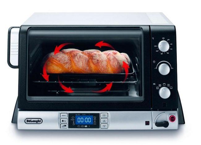 Функция конвекции позволяет готовить в минипечке выпечку