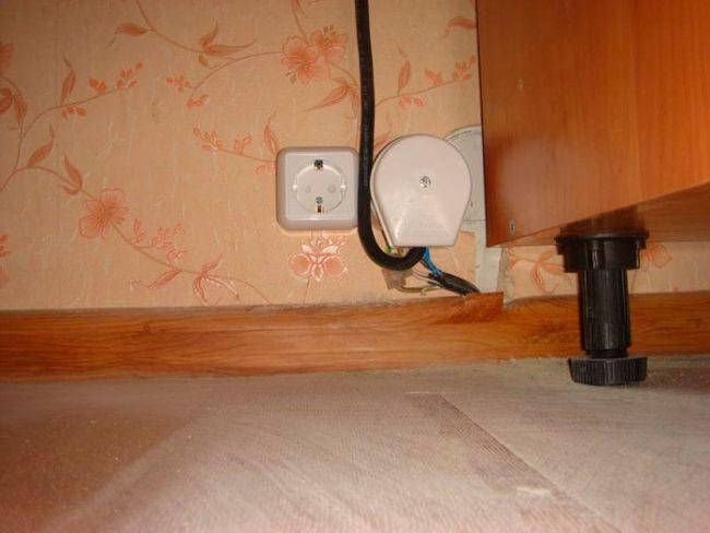Расположение розеток для подключения электрического духового шкафа