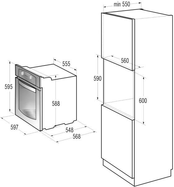 Пример соотношения размеров при подключении духового шкафа